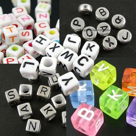 Letterkralen veel verschillende kleuren en maten for Organza zakjes xenos
