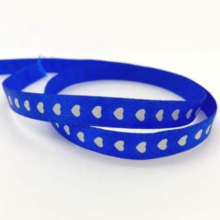 Satijn lint blauw wit hartje 10mm enkelzijdig