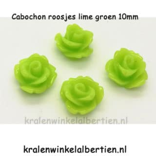 Roos 1mm cabochons lime groen plat 3d