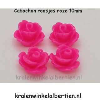 Applicatie roosje roze 10mm cabochon