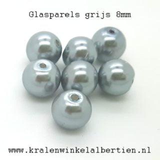 grijze glazen parel kralen 8mm
