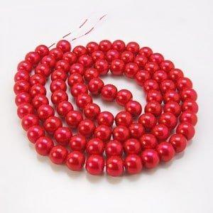 Glazen pareltjes rood 6mm