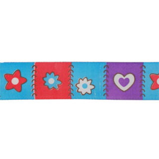 Bloemetjes en hartje lint blauw rood paars 25mm
