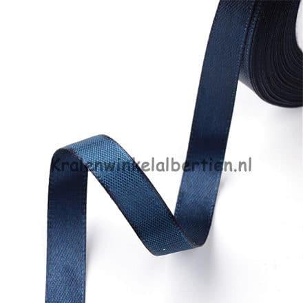 Donker blauw satijnen lint enkelzijdig sieraden maken 10mm rol