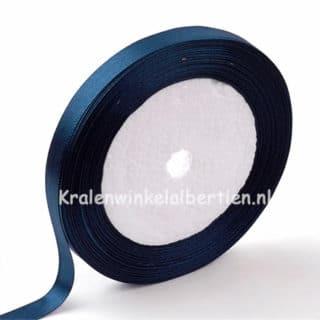 Donkerblauw navy enkelzijdig satijn lint 1cm breed rolletje groothandel verpakking