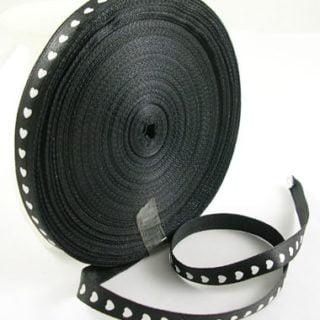 zwart lint met hartjes wit 10mm
