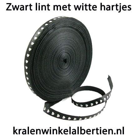 Lint zwart hartje wit 10mm