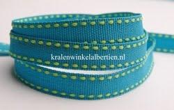 Band groen blauw stiksel 10mm