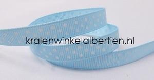 Grosgrain lichtblauw witte stippen 1cm