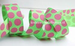 Grosgrain lint roze groen stippen