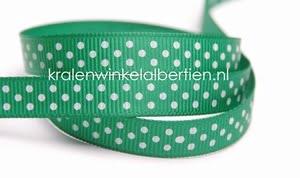 Grosgrain groen stippen wit 10mm