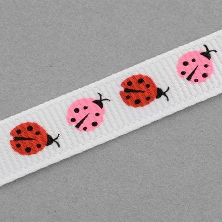 Grosgrain lint lievheersbeestjes wit rood roze 10mm