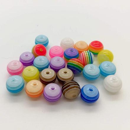Kraal rond 8mm sieraden zelf maken resin kunststof regenboog rijgen