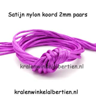Satijn koord paars 2mm nylon draad