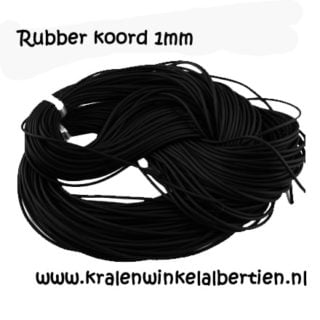 Rubber koord 1mm zwart