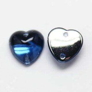 Opnaaibaar steentje hartje donker blauw