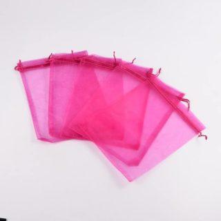 Organza zakje fuchsia roze 12cm groothandel cadeau verpakking