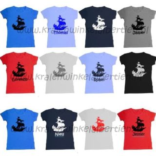 strijkapplicatie piratenboot t-shirt