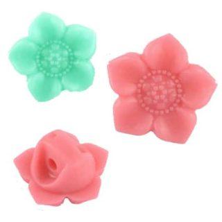 Bloem kralen roze en turquoise