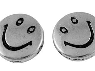 Smiley kralen zilver