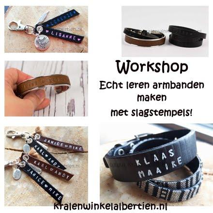 Workshop slagletters armband maken echt leer!