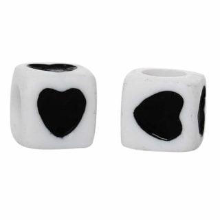 Witte hartjes kralen zwart groothandel verpakking
