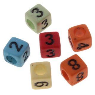 Cijferkralen gekleurd vierkant 6mm