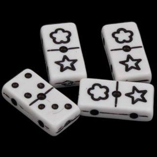 Domino kralen zwart wit 20mm dubbel gat