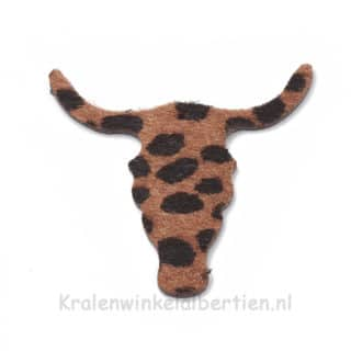 Buffel schedel bedel leopard print dark brown groot