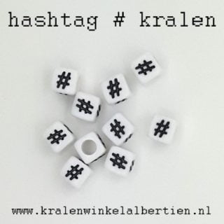 # hashtags kraal vierkant 6mm
