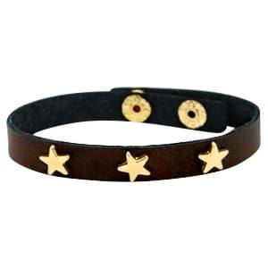 Armband bruin goud met gouden ster studs faux leer