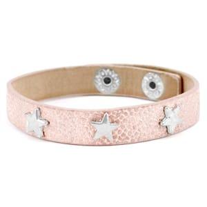 Armband studs roze zilver met zilveren sterren