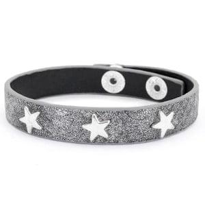 Armband antraciet zilver studs ster goedkope armbanden met studs