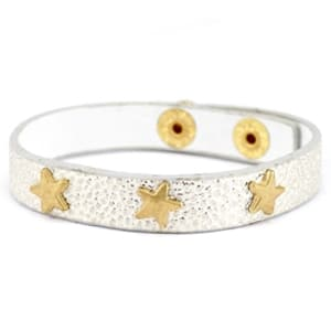 Goud zilveren armband studs gouden sterren goedkope armband faux leer