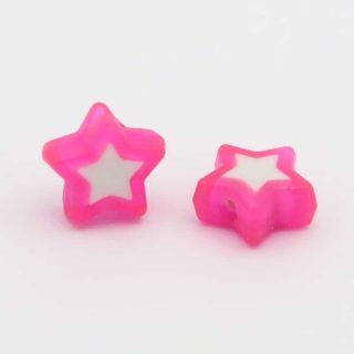 Kralen ster roze wit plastic voordelige kralen