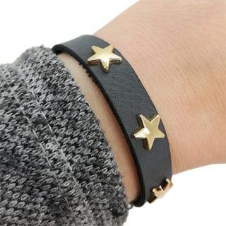 Armbandje antraciet grijs sterren studs goud