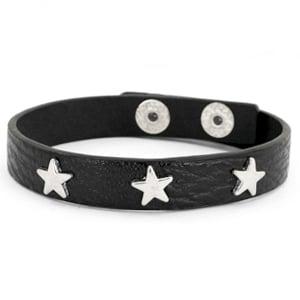 Armband zwart zilver met zilveren studs