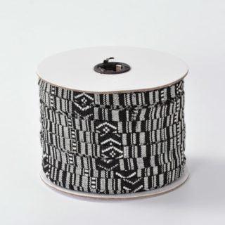 Plat Aztec 10mm zwart wit koord stof armband goedkoop