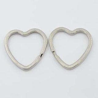 Sleutelring hart sleutelringen hartjes dubbele loop sleutelhangers zilverkleurig