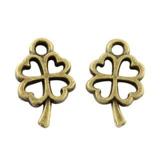 Bedeltje klavertje vier brons clover 4 bedel armbandje antiek bronzen 10mm kleine bedeltjes