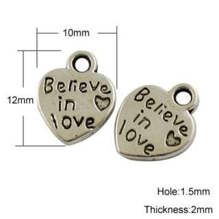 Believe in love hartje bedel zilver hart bedeltje bedeltjes nikkelvrij tibetaans kleine