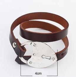 Bruin leren armband met hart hartje echt leer wikkelarmband sluiting