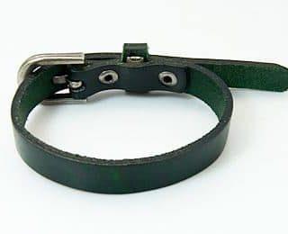 Legergroene armband echt leer leren armbanden horloge sluiting slagstempels slagletters goedkoop online kopen naam sieraden heren dames (4)