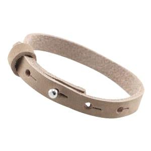 Leren armband beige DQ leer studs sluiting verstelbaar pols slagletters slagstempels