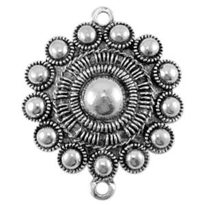 Metalen Zeeuwse knop knoop tussenzetter zilver groot zilverkleurig