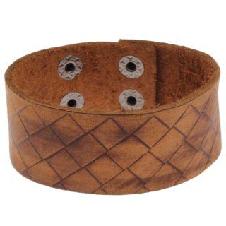 Brede bruine armband heren en dames pu leer drukknopen bruin hippe armbanden