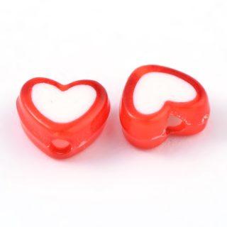 Hartvormige kralen groothandel hartjes hart rode rood wit 8mm voordeel goedkope kraal