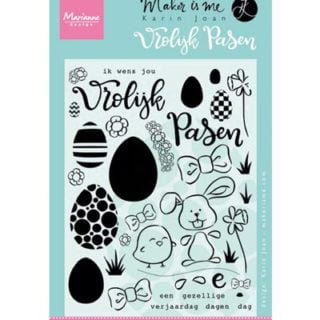 Karin Joan stempels Pasen vrolijk 40 stempeltje marker me silicone stempel marianne design handletteren kaarten maken goedkoop