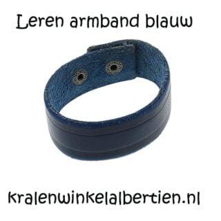 Leren armband blauw met drukknopen leer armbanden blauwe