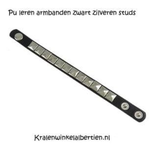Pu leren armbanden zwart met zilveren studs zilver zwarte drukknopen drukknoop verstelbaar goedkoop